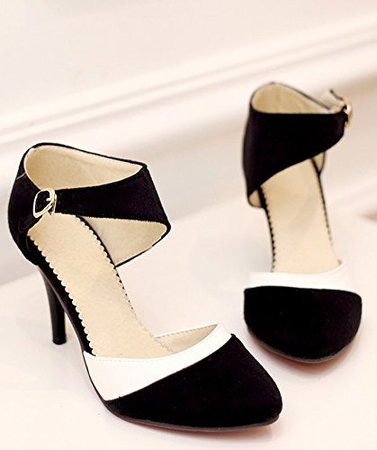 Minetom Donna Scarpe Estive Eleganti Sandali Con I Tacchi Alti Sandali Con Cinturino Alla Caviglia Fibbia Scarpe Da Sera Da Sposa Color Block Pumps Nere