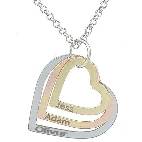 My Name Chain - Collana con triplo cuore, placcato in argento, personalizzabili con qualsiasi nome a incisione