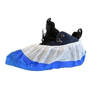 Packung mit 100 Stück PREMIUM Überschuhe von ASPRO - Extra stark -Wasserdicht -Reißfest -Langlebige Schuhschützer- Einheitsgröße - Material CPE / PP - 9,7 g Überschuhe (100)