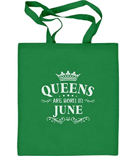 Juno Tote (Königliches Geschenk für Juni - Queens Jutebeutel Baumwolltasche One Size Grün)