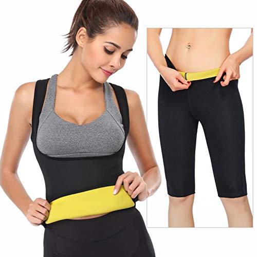 Yoga sauna gilet camicia a maniche donna pantaloni pantaloncini del sudore neoprene fitness corsetto per sudorazione, brucia grassi dimagrante (nero,l)