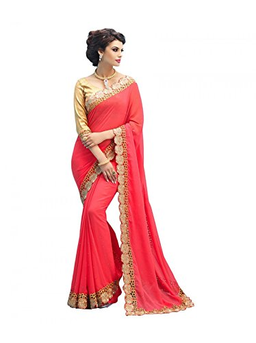 Sunshine Fashion Women\'s Georgette Embroidery Work Saree With Unstitched Blouse Piece(SUNS3104_Peach_Free Size)
