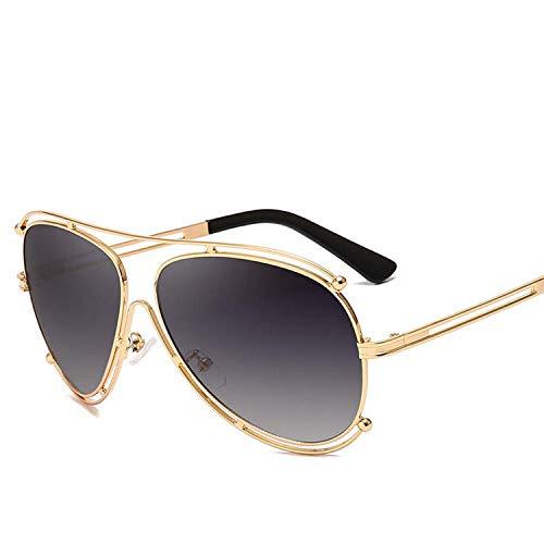 FIRM-CASE Neue Art und Weise klassische Sonnenbrille Retro- Frauen-Doppel-rundes Metall großen Feld-Gläser Photochromic Brillen, 1