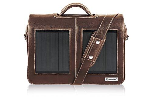 SunnyBAG Business Professional Solartasche mit 3 Watt Solarpanel für 15 Zoll Notebook, Businesstasche, Umhängetasche, Aktentasche, Notebook-Tasche, Laptop-Tasche aus Leder, braun braun, 3,6 Watt