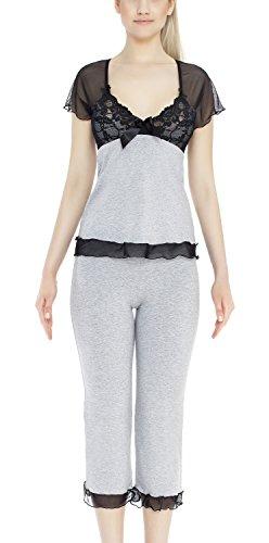 m.Lyra Damen Nachtwäsche Wäsche Set aus Viskose KIM Übergrößen (3XL �?10XL) Grau