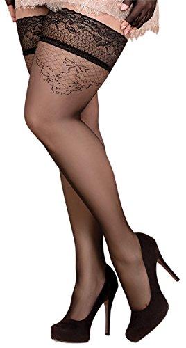 Unbekannt Ballerina Halterlose Damen-Strümpfe, schwarz, XL+, XXL+, Stockings, Spitze, Strapsoptik Grössen XXL+