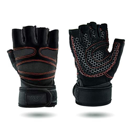 Upgrade L Premium Fitness Handschuhe für Kleingeräte, Crossfit und Krafttraining | Fahrradfahren, Paddeln, Wandern und Klettern | Atmungsaktiv | Anti-Rutsch | mit Klettverschluss | Handgelenk Bandage