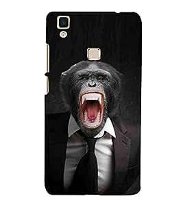 For Vivo V3 Gorella, Black, Black Coat, Black Tie, Printed Designer Back Case Cover By CHAPLOOS