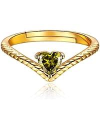 a17502830aa1 ChicSilver Plata de Ley 925 Chapado en Platino Oro Anillo Trenzado  Ajustable Corazón con Piedras