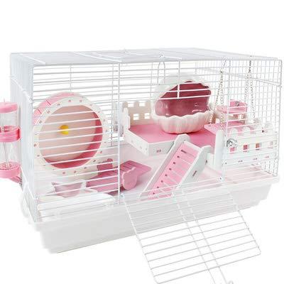 WTTTTW Große Hamsterkäfig, Acrylmaterial Meerschweinchen kleine Haustiere Mäuse Haus Chinchilla Ferret Igel Hamster Zubehör,Pink (Pink Käfig Meerschweinchen)