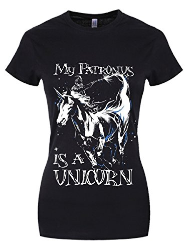 My Patronus is A Unicorn Damen T-Shirt schwarz (Hexerei Top Filme)