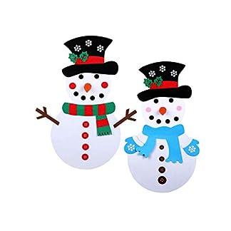OMMO LEBEINDR Muñeco de Nieve de Fieltro 2 Set Navidad Juegos de Muñeco de Nieve DIY Muñeco de Nieve Colgante Desmontable
