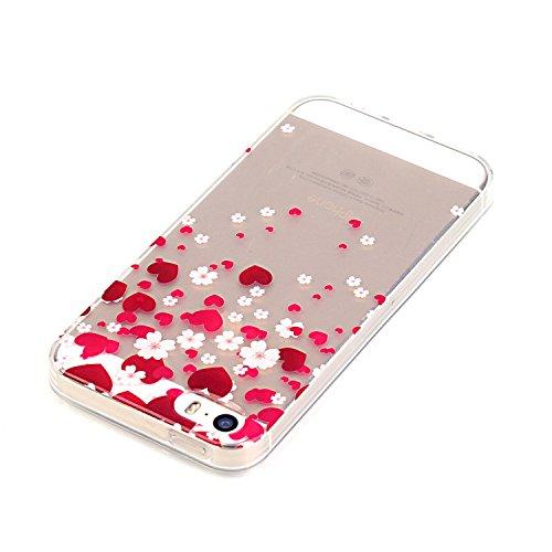 iPhone 5/5S/SE Custodia,Ukayfe Premium Transparent Dipinto Chiaro Case Cover Bumper Copertina Morbido in Silicone Gel e TPU pelle,Trasparente Ultrasottile 3D Fashion Fiore Paesaggio Case Verniciato Am amore