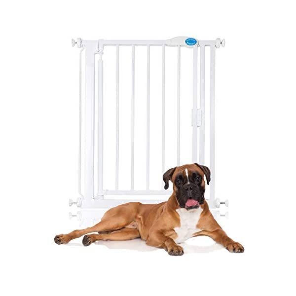Bettacare Auto Close Pet Gate 75cm - 154cm Gate with Extensions (68.5cm - 75cm) Bettacare Pressure Fitted Two Way Opening (Widget on bottom bar can be adjusted to set gate opening towards or from user) Double Locking Mechanism 1
