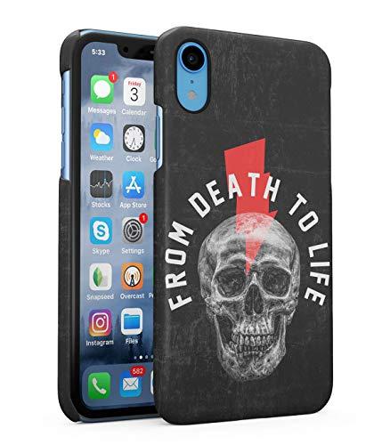 atibel mit iPhone XR From Death To Live Schädel Skelett Tod Gotisch Zitat X-Rays Human Skull Grunge Skeleton Gothic Dead Man Quote Motivation eng Anliegendes, Dünnes Handyhülle ()