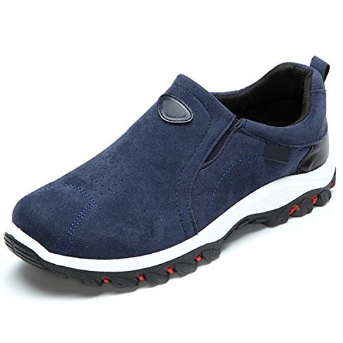gracosy Sneaker, Herren Damen Trekking-Schuhe Unisex Freizeitschuhe Wanderschuhe Outdoor Fitness Schuhe Sportschuhe Veloursleder Leicht Bequem Blau 45