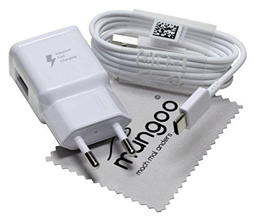 Ladegerät für Original Blitz Schnell Samsung USB Typ-C Kabel Ladekabel für Samsung Galaxy TabS3 9.7/WiFi (SM-T820N/T825N) mit mungoo Displayputztuch (Original Handy)