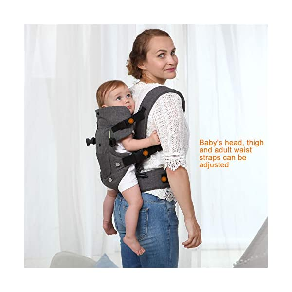 Xatan Baby Convertible Carrier, All Carry Position Newborn to Toddlers Ergonomic Carrier with Soft Breathable Air Mesh and All Adjustable Buckles Xatan ERGONOMIC CARRIER -- The premium quality baby carrier provides a convertible, ergonomic, facing-in/out,back carry etc different seat position, which offers the baby comprehensive care and support and also can help parents or carer free hands to do other work. PREMIUM QUALITY -- The Ergonomic Carrier is specialized customized with high quality and fine workmanship.Every details was revised repeatly! We are committes to offer the comfortable caring for your babies! COMFORTABLE HEAD/LEG SUPPORT -- The head and thigh support part can be adjusted according to the baby's body! The baby carrier will make sure the padded head support will hold small infants comfortably! 4
