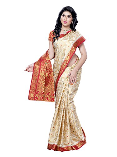 Mimosa Kanchipuram Tassar Wedding Silk Saree White(3051-97-HLFWHITEMARUN)