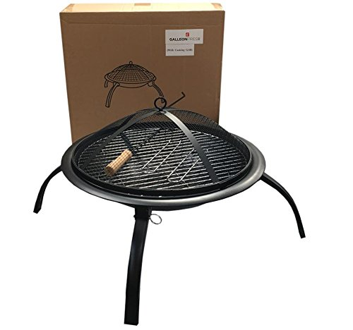 X Large Foldable Fire pit,bbq grill,4legs,Round 57cm,Folding Outdoor Firepit Foldable Garden Patio Fire Pit Heater with Cooking Grill(1)