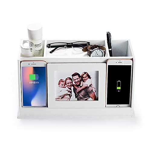 AHDECOR Desk Organizer Schreibtisch Ordnungssystem Stifthalter Mit 2 USB Anschlüssen Und Ladefunktion, Passend Für iPhone, Samsung u. a. Smartphones