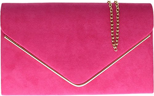 H&G Ladies Faux Suede Clutch Bag Envelope Metallic Frame Plain Design - Pink (Floral-design-hobo)