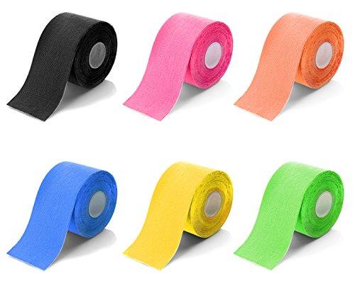 Good Times Kinesiologie Tape, gegen Verspannungen, akute Schmerzen und Überlastung, für Knie, Gelenk, Schulter, Rücken, atmungsaktiv, hautfreundlich, wasserdicht (Gelb, 5cm Breite - 1xRolle)