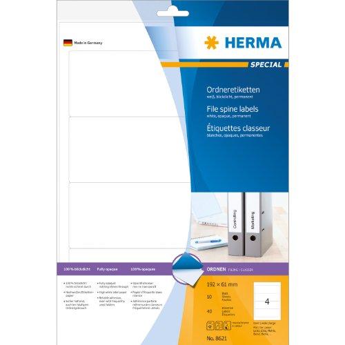 Herma 8621 Ordnerrücken blickdicht, breit/kurz (192 x 61 mm) 40 Ordneretiketten, 10 Blatt DIN A4 Papier matt, weiß, bedruckbar, selbstklebend