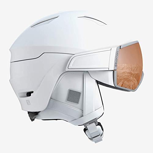 Salomon Damen Mirage S Ski- und Snowboardhelm, mit Visier, OTG-Lösung für Brillenträger, EPS 4D-Innenschaum, Kopfumfang 53-56 cm, weiß, Größe S, L40593400