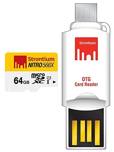 64GB , With OTG Card Reader : Strontium Nitro 64GB MicroSDXC UHS-I Memory Card with OTG Card Reader Up to 85MB/s (SRN64GTFU1T)