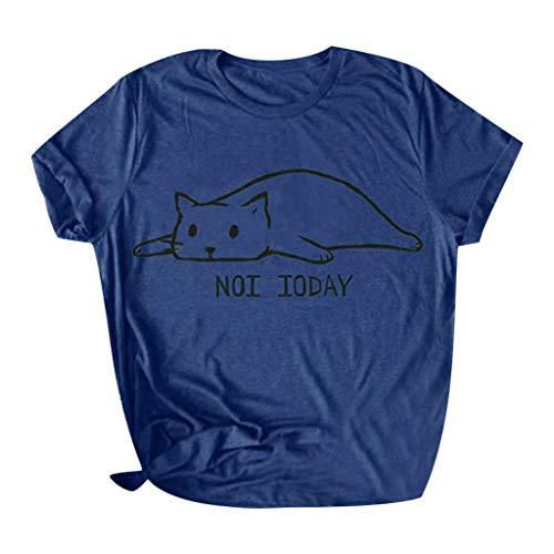 CixNy Damen T Shirts, Kurzarm Bluse Camisole Trägershirts Sommer Einfarbig Baumwolle Brief Drucken Baumwolle Nette lustige Katze Crop Vest...