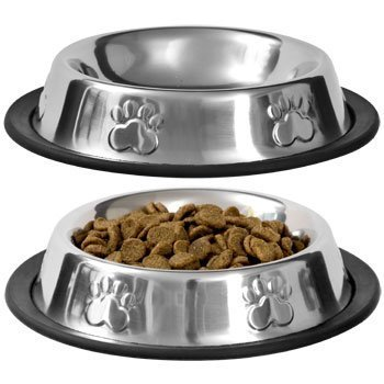Pet Food Bowl Stainless Steel Non Skid Pet Paws Doodler Dish Is Perfect for a Small Dog Cat Kitten Puppy (2 bowls per order) by TBC HOME DECOR