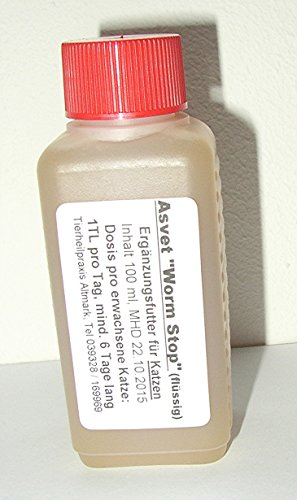 100ml Asvet Worm Stop, Kräuter für Katzen keine chemische Wurmkur, sehr schonend