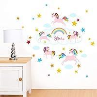 Rubybloom Designs Personalised Rainbow Unicorn & Stars Girls Name - Peel & Stick Wall Stickers