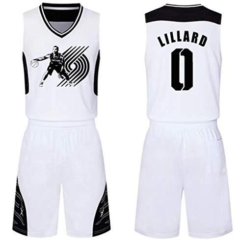 FRQQ Herren und Unisex Basketball T-Shirt - Trail Blazer No. 0 Star Lillard (Size : S)