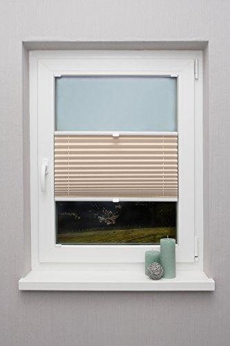 Plissee auf Maß verschiedene Farben für alle Fenster Montage in der Glasleiste Faltrollo Blickdicht mit Spannschuh Sonnenschutzrollo Fensterrollo Plissee Rollo Beige Breite: 81 - 90 cm, Höhe: 101 - 150 cm