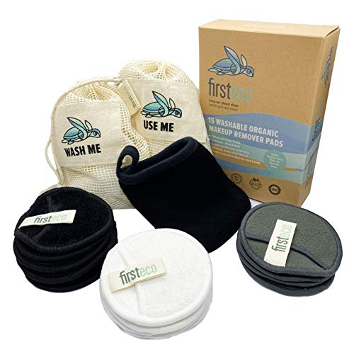 Firsteco® Premium Set: 15 Waschbare Abschminkpads + 2 Wäschebeutel Gratis Waschlappen & EBOOK   Bambus & Baumwolle wiederverwendbare Abschminktücher Watte-Pads Make-up Remover Reusable Bio Zero-Waste