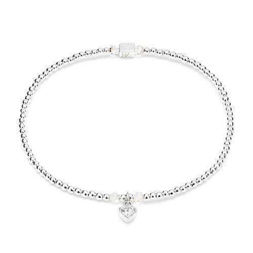 ANNIE HAAK Blissful Swarovski cuore di cristallo braccialetto d'argento, sottile in rilievo a mano Bracciale singolo filo con fascino del cuore, argento 925