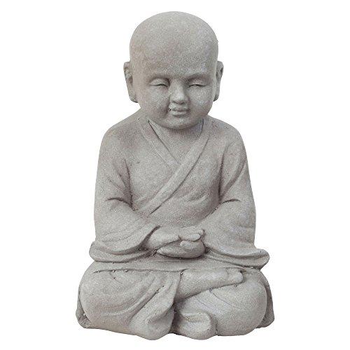 Jardín Figura Decorativa Shaolin Monje Buda meditando, efecto piedra en gris–2tamaños diferentes