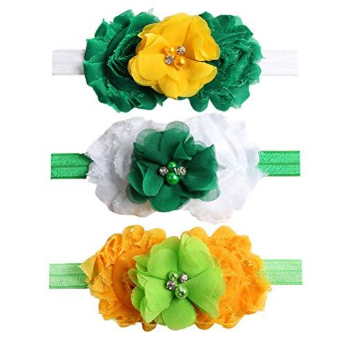 BESTOYARD 3 stücke Kleeblatt Stirnbänder Baby St. Patrick's Day Nette Blume Headwear Zubehör Baby Mädchen Irish Day Party Favors