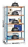 SimonRack SI410 Kit Estantería con 5 Estantes, AZUL/NARANJA/GALVA, 2000 x 1000 x 300 mm