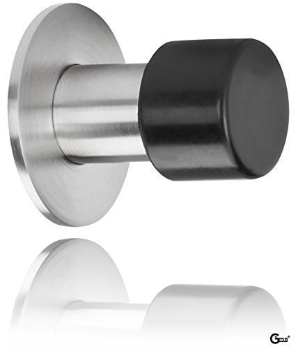 gedotecr-wall-buffer-wall-mounted-door-stop-on-rose-door-stopper-focus-matte-brushed-stainless-steel