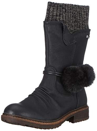 Rieker Damen 94751 Hohe Stiefel, Schwarz (Schwarz/Black-Grey 00), 38 EU