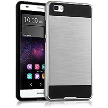 kwmobile Funda para Huawei P8 Lite (2015) - Case híbrida Diseño Cepillado de TPU silicona - Hard Cover Diseño Cepillado en plata negro