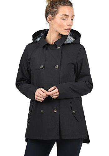 DESIRES Tine Damen Trenchcoat Mantel Übergangsjacke mit Kapuze, Größe:XL, Farbe:Black (9000)