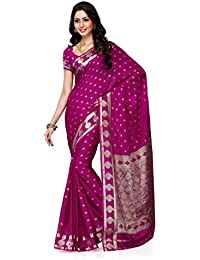 Mimosa Women'S Creap Silk Saree With Blouse,Color:Rani(3198-2075-RANI)
