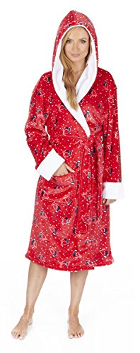 ladies-novelty-christmas-hooded-fleece-dressing-gown-snowman-or-robin-sizes-s-xl-small-red-robin