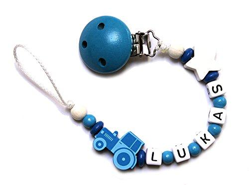 Preisvergleich Produktbild Baby Schnullerkette mit Perlen aus Holz LUKAS. Weiß und Blau mit Traktor