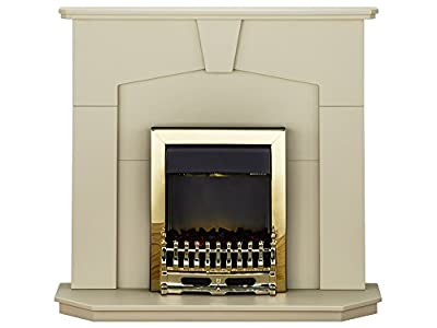 The Abbey Traditional Electric Fireplace with Adam Ribbon Brass Electric Fire