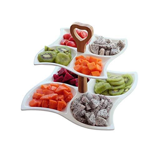 Obstschale aus Keramik, doppelschichtig, mehrlagig, für Dessert und Gebäck, für trockene Obstteller, Kuchen, Catering, Küche